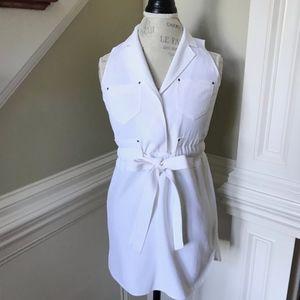 Banana Republic Shirt Dress Sleeveless White 00 P